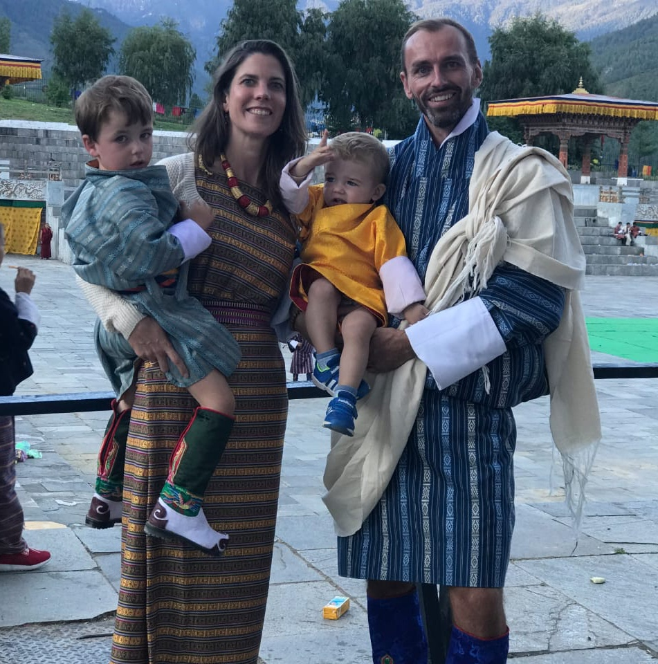 Ms Copper and her family in traditional Bhutanese dress. (Source: Mieke Copper)