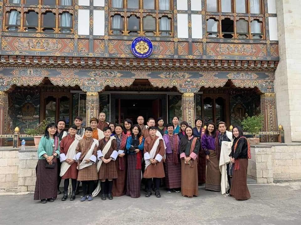 LGBT people and allies outside the Parliament of Bhutan