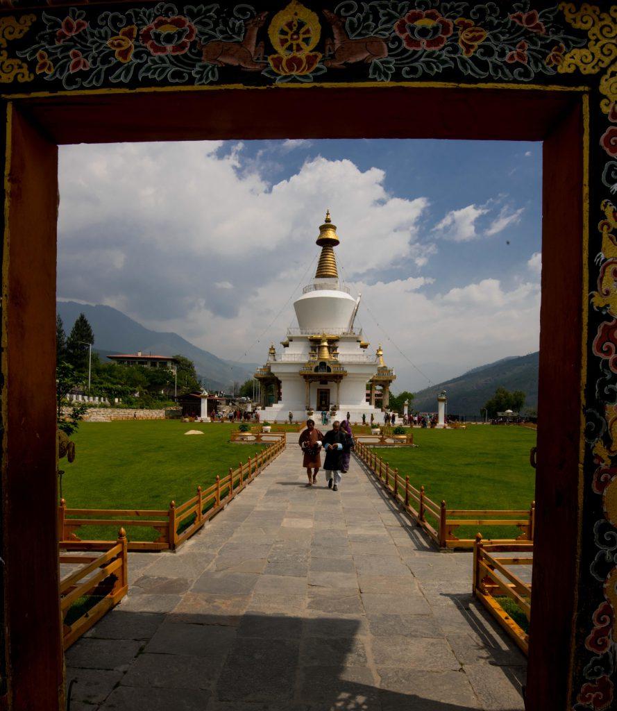 The Tibetan-style stupa was built in 1974 as a memorial to the third king, Jigme Dorji Wangchuck (1928–72).